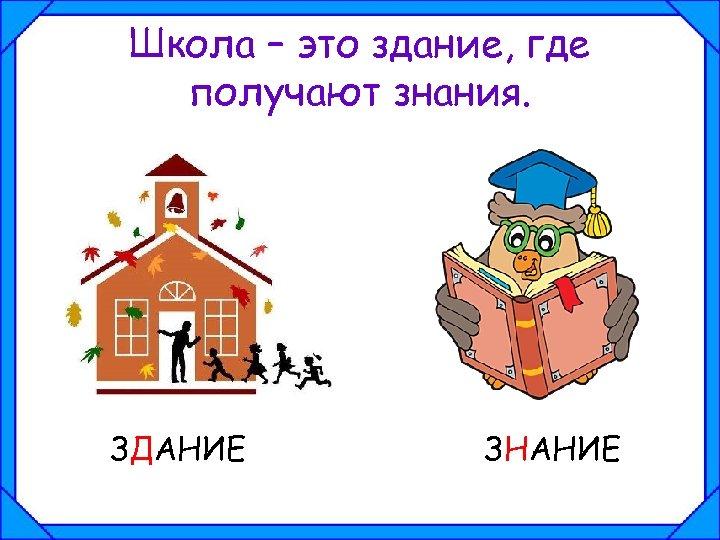 Школа – это здание, где получают знания. ЗДАНИЕ ЗНАНИЕ