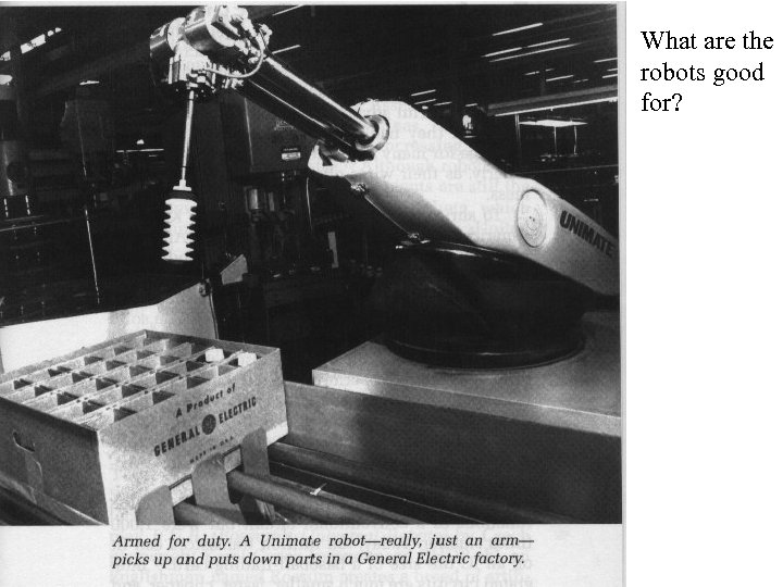 What are the robots good for? • Manufacturing and materials handling