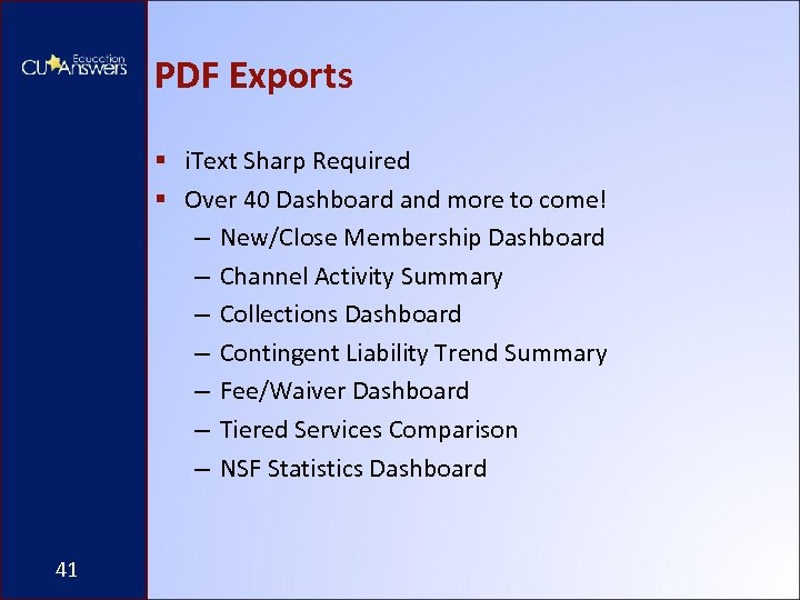 PDF Exports § i. Text Sharp Required § Over 40 Dashboard and more to