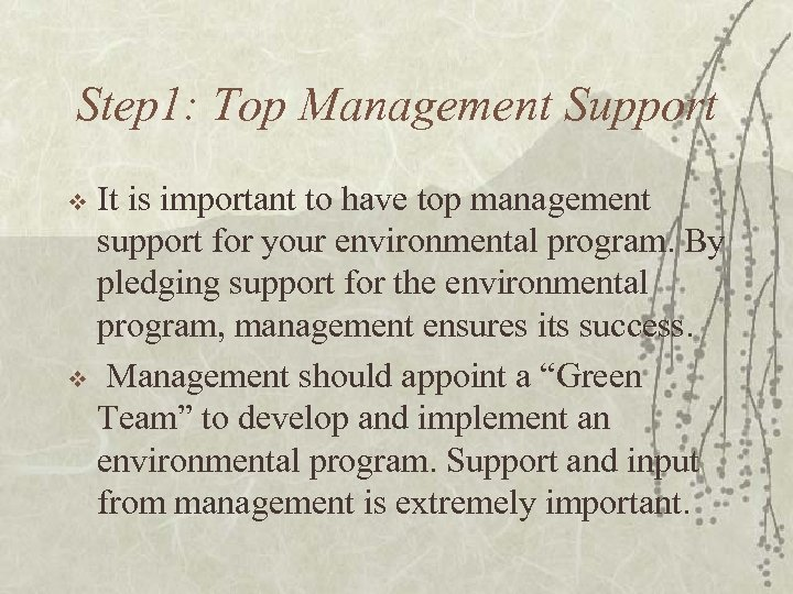 Step 1: Top Management Support It is important to have top management support for