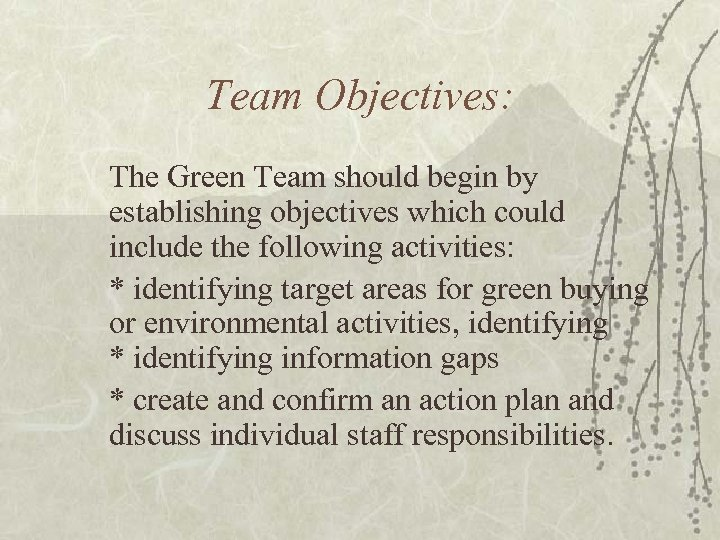 Team Objectives: The Green Team should begin by establishing objectives which could include the