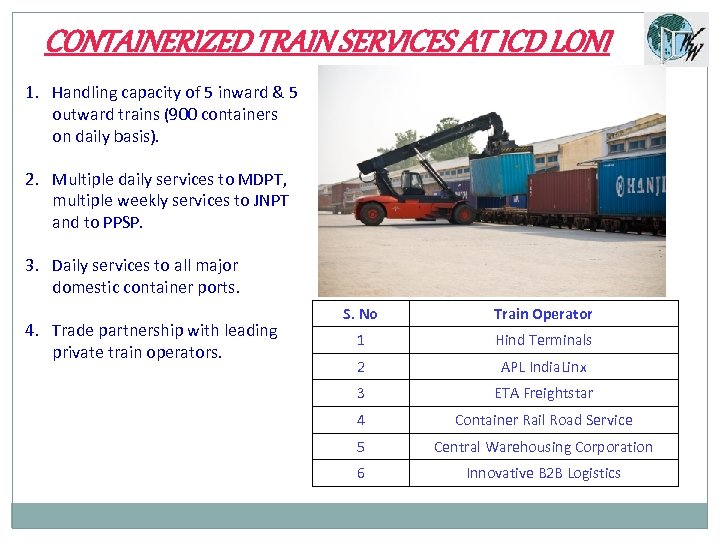 CONTAINERIZED TRAIN SERVICES AT ICD LONI 1. Handling capacity of 5 inward & 5