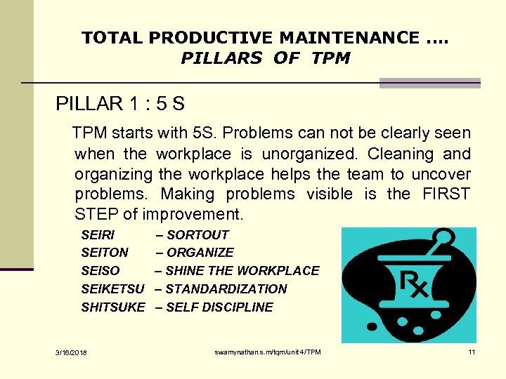TOTAL PRODUCTIVE MAINTENANCE …. PILLARS OF TPM PILLAR 1 : 5 S TPM starts