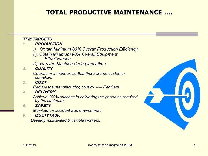 TOTAL PRODUCTIVE MAINTENANCE …. TPM TARGETS 1. PRODUCTION I). Obtain Minimum 80% Overall Production