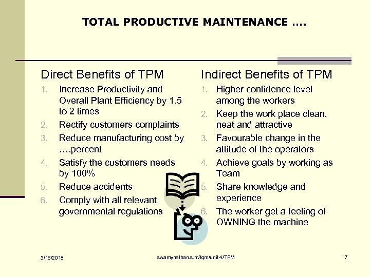 TOTAL PRODUCTIVE MAINTENANCE …. Direct Benefits of TPM 1. 2. 3. 4. 5. 6.