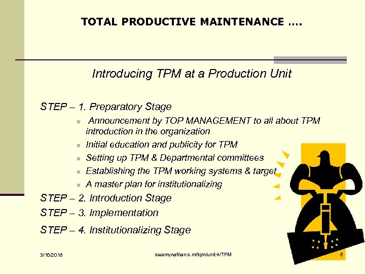 TOTAL PRODUCTIVE MAINTENANCE …. Introducing TPM at a Production Unit STEP – 1. Preparatory