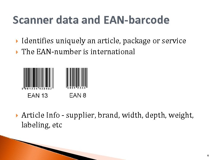 Scanner data and EAN-barcode Identifies uniquely an article, package or service The EAN-number is