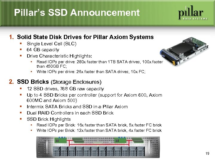 Pillar's SSD Announcement 1. Solid State Disk Drives for Pillar Axiom Systems § Single