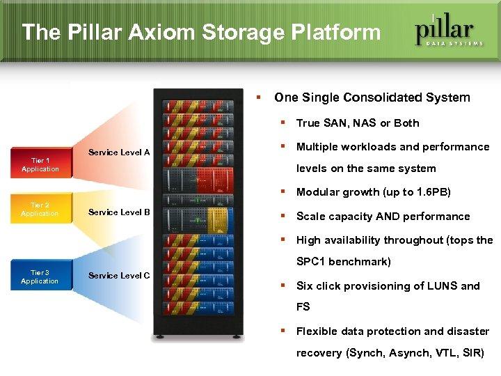 The Pillar Axiom Storage Platform § One Single Consolidated System § True SAN, NAS