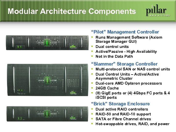 "Modular Architecture Components ""Pilot"" Management Controller § Runs Management Software (Axiom Storage Manager GUI)"