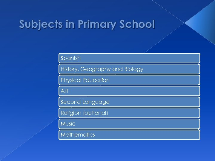 Subjects in Primary School Spanish History, Geography and Biology Physical Education Art Second Language