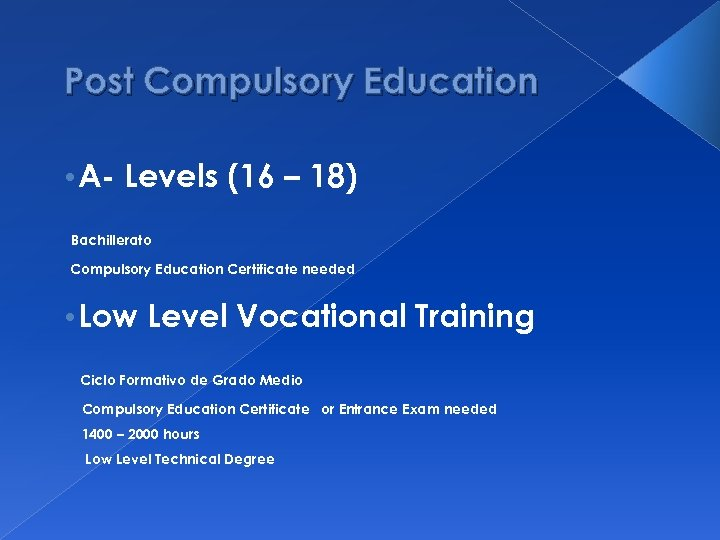 Post Compulsory Education • A- Levels (16 – 18) Bachillerato Compulsory Education Certificate needed