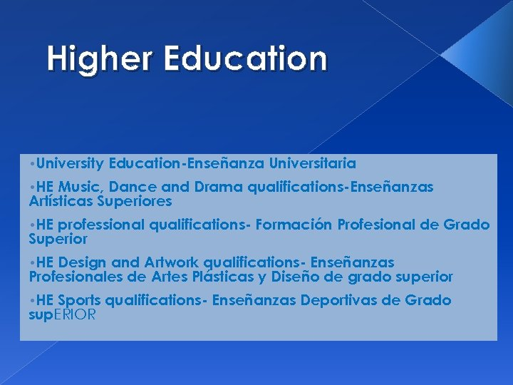 Higher Education • University Education-Enseñanza Universitaria • HE Music, Dance and Drama qualifications-Enseñanzas Artísticas