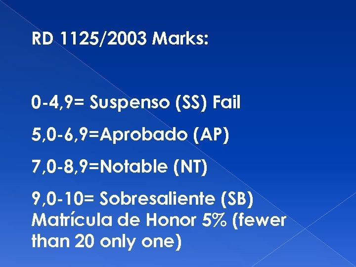RD 1125/2003 Marks: 0 -4, 9= Suspenso (SS) Fail 5, 0 -6, 9=Aprobado (AP)