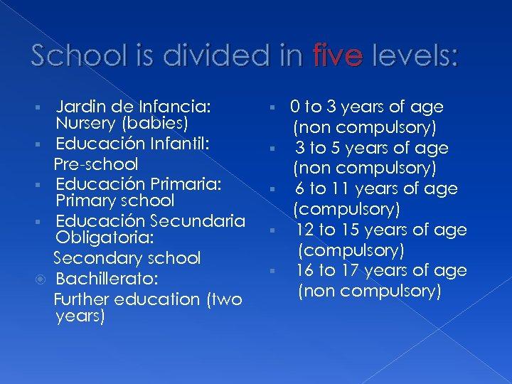 School is divided in five levels: § § Jardin de Infancia: Nursery (babies) Educación