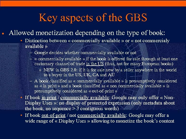 Key aspects of the GBS · Allowed monetization depending on the type of book: