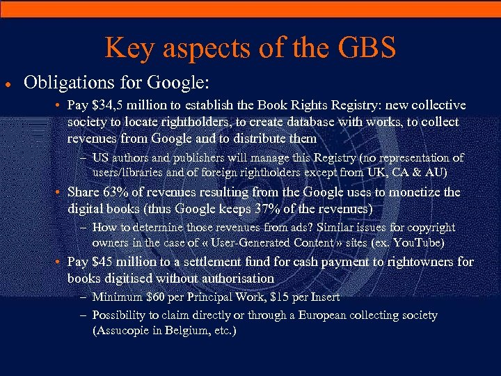 Key aspects of the GBS · Obligations for Google: • Pay $34, 5 million