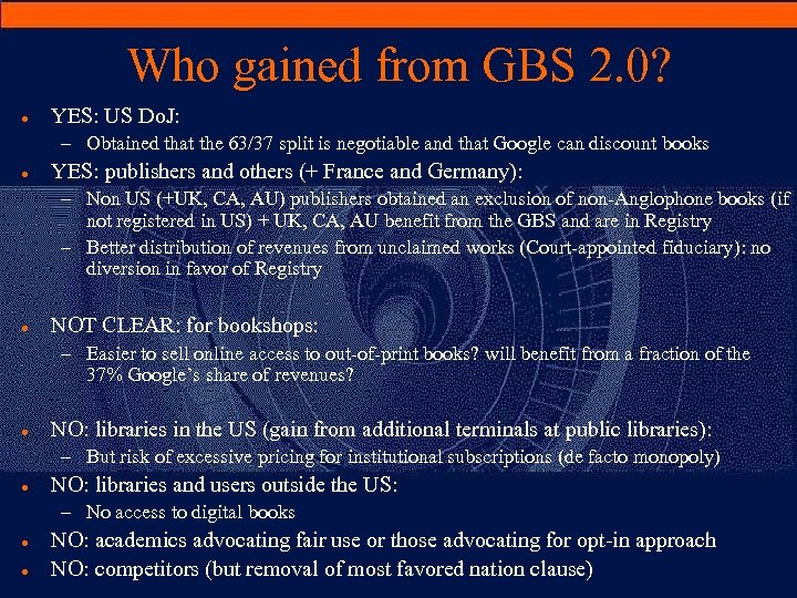 Who gained from GBS 2. 0? · YES: US Do. J: – Obtained that