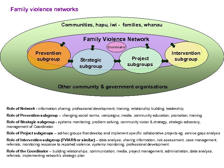 Family violence networks Communities, hapu, iwi - families, whanau Family Violence Network Coordinator Prevention