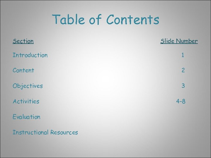 Table of Contents Section Slide Number Introduction 1 Content 2 Objectives 3 Activities Evaluation