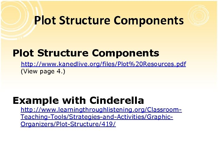 Plot Structure Components http: //www. kanedlive. org/files/Plot%20 Resources. pdf (View page 4. ) Example