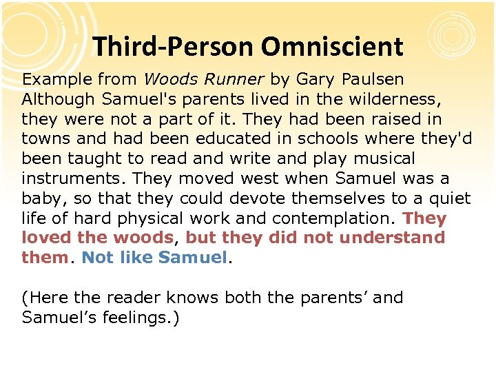 Third-Person Omniscient Example from Woods Runner by Gary Paulsen Although Samuel's parents lived in