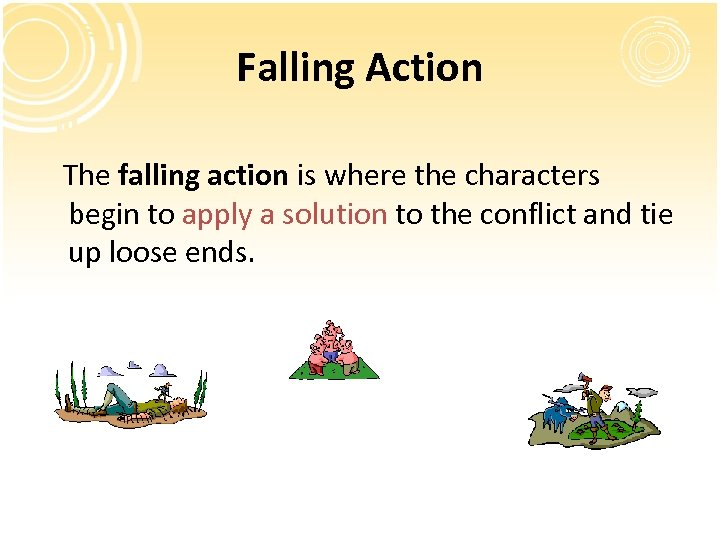 Falling Action The falling action is where the characters begin to apply a solution