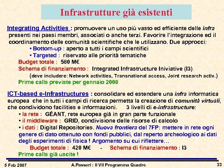 Infrastrutture già esistenti Integrating Activities : promuovere un uso più vasto ed efficiente delle