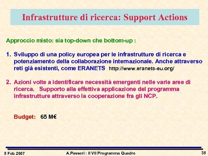 Infrastrutture di ricerca: Support Actions Approccio misto: sia top-down che bottom-up : 1. Sviluppo