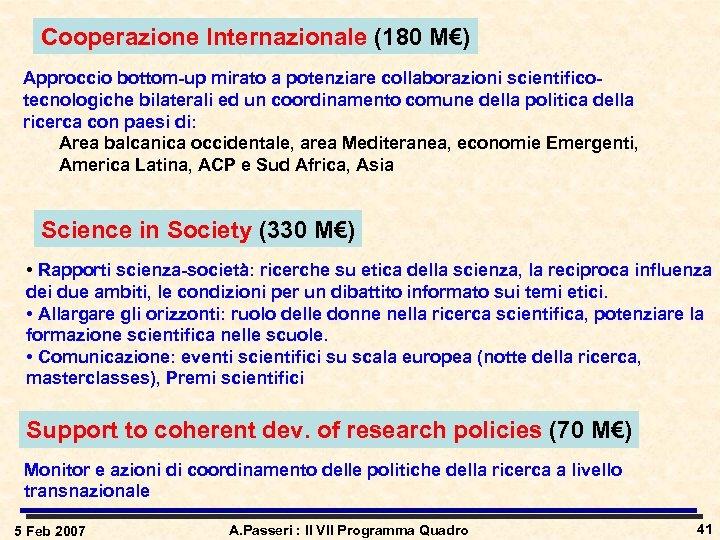 Cooperazione Internazionale (180 M€) Approccio bottom-up mirato a potenziare collaborazioni scientificotecnologiche bilaterali ed un