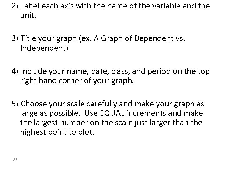 2) Label each axis with the name of the variable and the unit. 3)