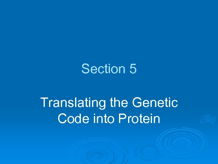 Section 5 Translating the Genetic Code into Protein