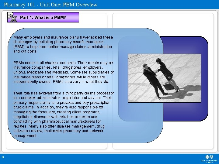 Pharmacy 101 - Unit One: PBM Overview Part 1: What is a PBM? Many