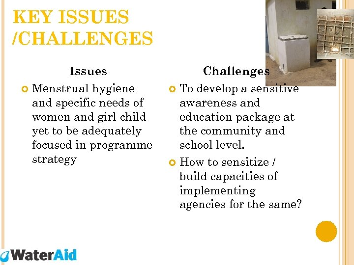 KEY ISSUES /CHALLENGES Issues Menstrual hygiene and specific needs of women and girl child