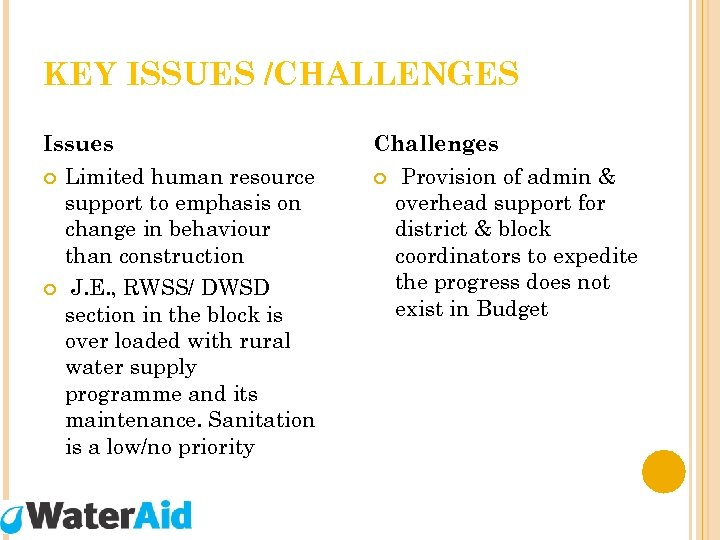 KEY ISSUES /CHALLENGES Issues Limited human resource support to emphasis on change in behaviour