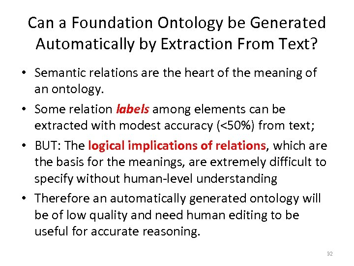 Can a Foundation Ontology be Generated Automatically by Extraction From Text? • Semantic relations