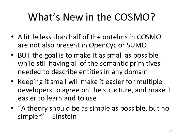 What's New in the COSMO? • A little less than half of the ontelms