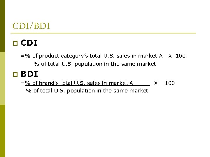 CDI/BDI p CDI =% of product category's total U. S. sales in market A
