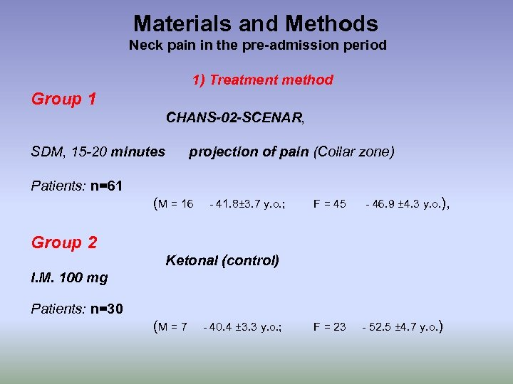 Materials and Methods Neck pain in the pre-admission period 1) Treatment method Group 1