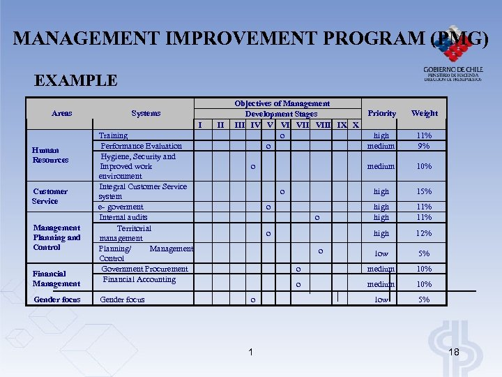 MANAGEMENT IMPROVEMENT PROGRAM (PMG) EXAMPLE Areas Human Resources Customer Service Management Planning and Control