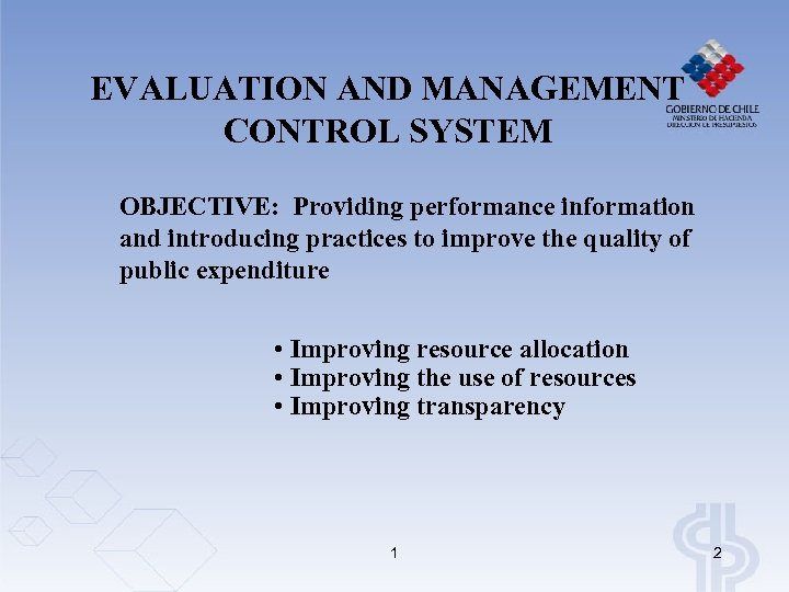 EVALUATION AND MANAGEMENT CONTROL SYSTEM OBJECTIVE: Providing performance information and introducing practices to improve
