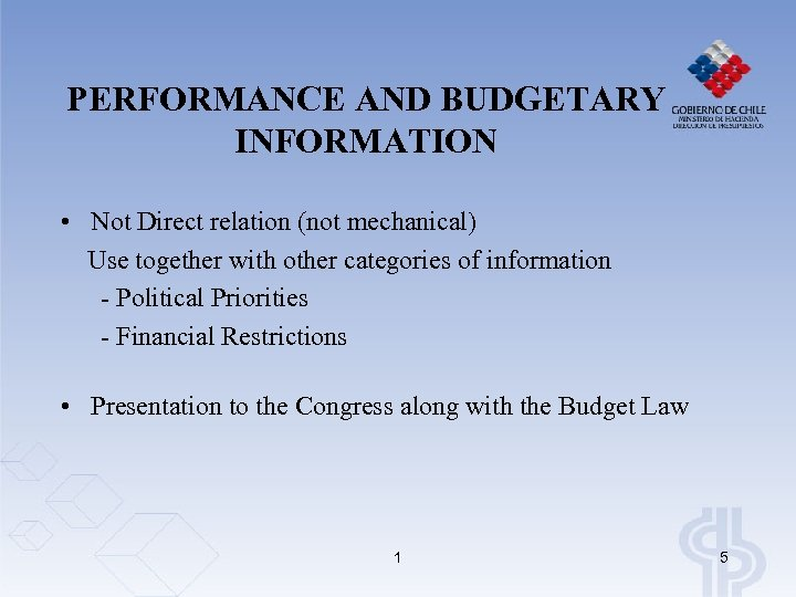 PERFORMANCE AND BUDGETARY INFORMATION • Not Direct relation (not mechanical) Use together with other
