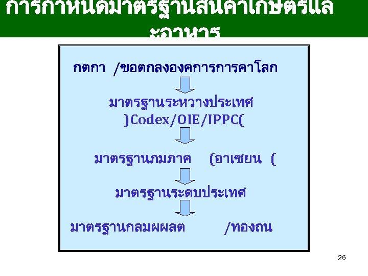 การกำหนดมาตรฐานสนคาเกษตรแล ะอาหาร กตกา /ขอตกลงองคการการคาโลก มาตรฐานระหวางประเทศ )Codex/OIE/IPPC( มาตรฐานภมภาค (อาเซยน ( มาตรฐานระดบประเทศ มาตรฐานกลมผผลต /ทองถน 26