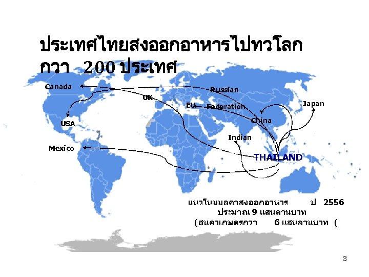 ประเทศไทยสงออกอาหารไปทวโลก กวา 200 ประเทศ Canada UK USA Russian EU Japan Federation China Indian Mexico
