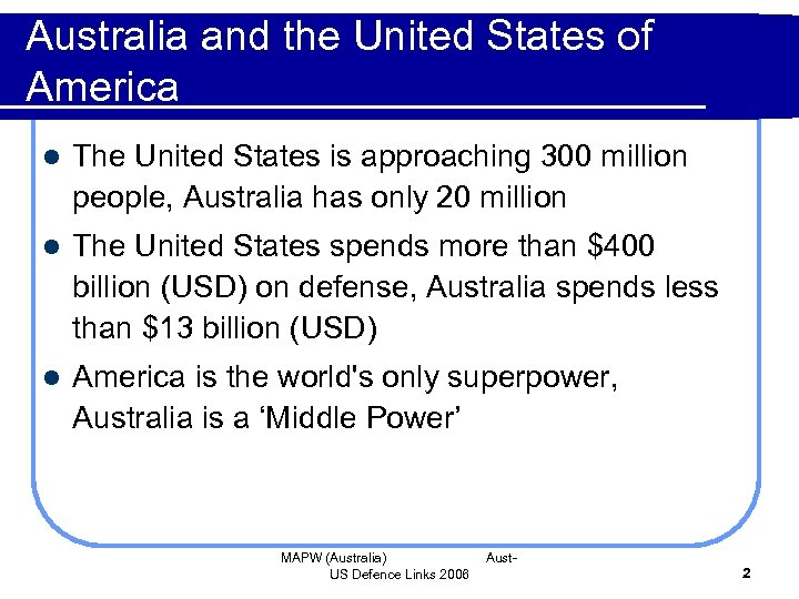 Australia and the United States of America l The United States is approaching 300