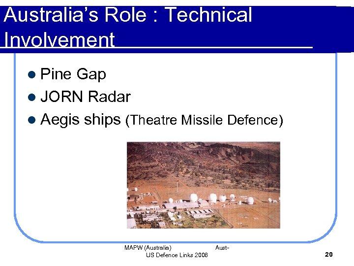 Australia's Role : Technical Involvement l Pine Gap l JORN Radar l Aegis ships