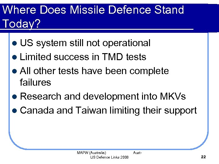 Where Does Missile Defence Stand Today? l US system still not operational l Limited