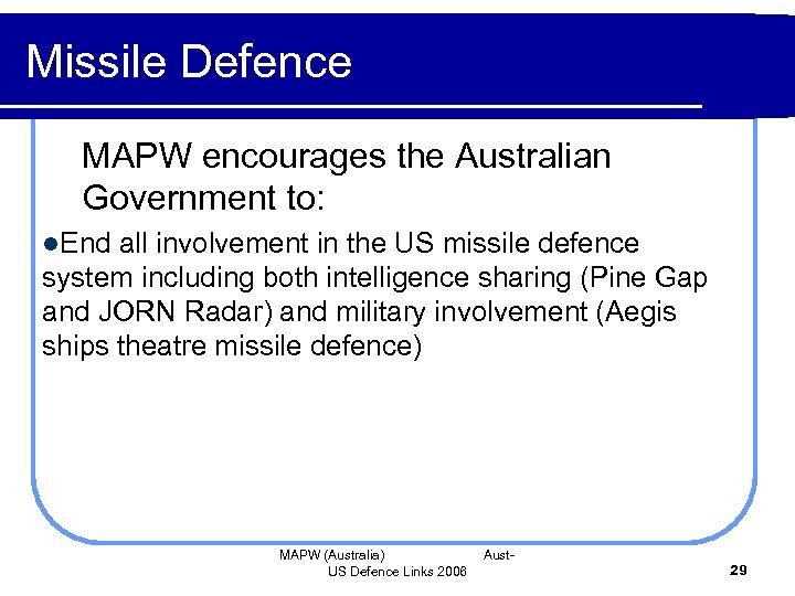Missile Defence MAPW encourages the Australian Government to: l. End all involvement in the