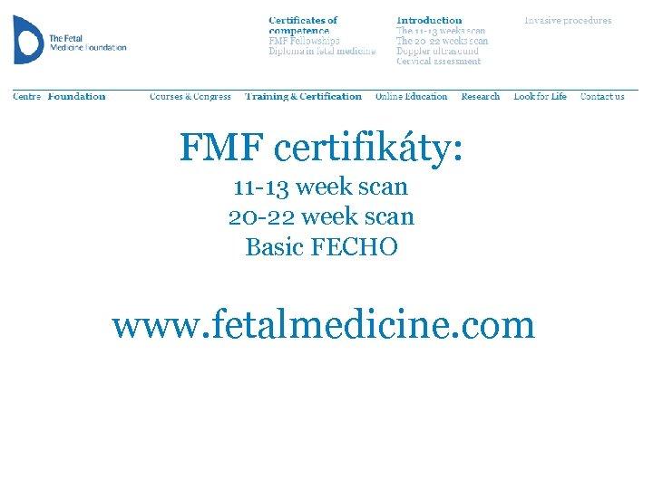 FMF certifikáty: 11 -13 week scan 20 -22 week scan Basic FECHO www. fetalmedicine.