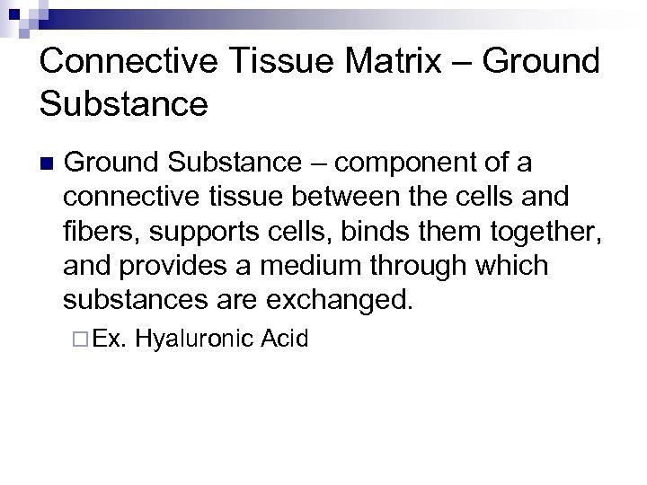 Connective Tissue Matrix – Ground Substance n Ground Substance – component of a connective